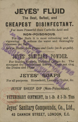Advert for Jeye's Disinfectant, reverse side
